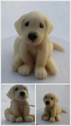 Lab puppy cake topper fondant by phototheque Fondant Cake Toppers, Fondant Cakes, Fondant Baby, Dog Cake Topper, Cupcake Cakes, Decors Pate A Sucre, Puppy Cake, Animal Cakes, Dog Cakes