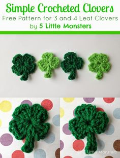 Five Little Monsters: Super Simple Crocheted Clovers - free pattern, 3 and 4 leaf.