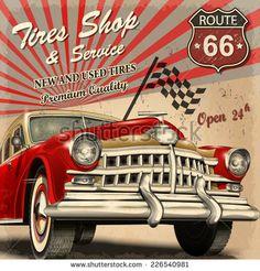 44 Super Ideas For Vintage Cars Retro Travel Posters Vintage Advertisements, Vintage Ads, Vintage Signs, Carros Retro, Car Vector, Used Tires, Car Illustration, Illustrations, Stock Foto