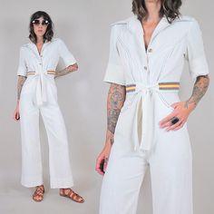 NEW shop arrival •• 70's rainbow stitched jumpsuit