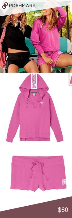 PINK nation pink set pullover hoodie and shorts Brand new in package.  Limited edition PINK pullover hoodie and short set in pink.  Spring break must have! Pet free smoke free posher. PINK Victoria's Secret Tops Sweatshirts & Hoodies