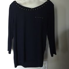 Navy T Dark navy t shirt with 3/4 sleeves, zippered back and small stud accents around neck and pocket. The Limited Tops