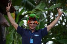 Javi the Frog on guide's head having fun - La Fortuna de San Carlos, Alajuela