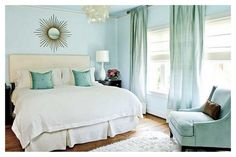 Shades of August Mint Living Room - I love the colour and the shades with curtains!
