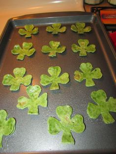 Shamrock Tortilla Dippers- use any shape cookie cutter for festive homemade baked tortilla chips