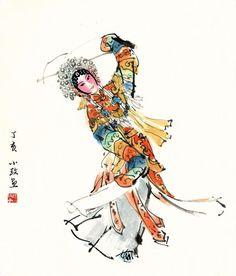 水墨戏剧人物新派画家穆小玫 Chinese Dance, Chinese Opera, Japanese Drawings, Japanese Art, Ancient China, Ancient Art, Ink Painting, Watercolor Paintings, Chinese Handwriting