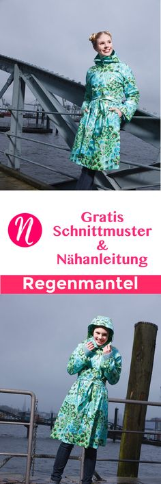 Kostenloses Schnittmuster für einen Regenmantel zum selber nähen. PDF-Schnittmuster Gr. 36 - 44 ✂ Nähtalente.de - Magazin für kostenlose Schnittmuster ✂ Free sewing pattern for a woman raincoat in size 36 - 44.