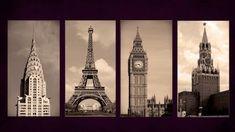 Quadro Decorativo New York,paris,london E Moscow,sala Quarto - R$ 149,00