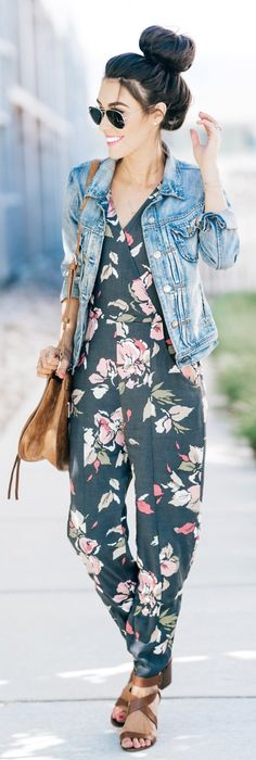 #summer #outfits So Excited To Be Sharing His Fun Outfit On The Blog Today! Talk About An Outfit For Fridays! I Love This Jumpsuit! The Pattern, The Fit, And That You Can Wear It For So Many Occasions. More Details & Links On The Blog But It's Only $78! // Denim Jacket + Floral Jumpsuit + Brown Sandals