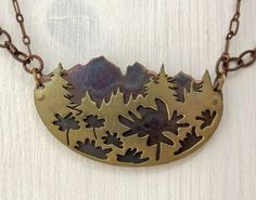 Large Layered Landscape Mountain Necklace  Mixed by GatherAndFlow, $58.00