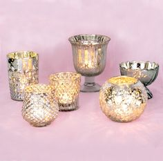 Glam Mercury Glass Tea Light Candle Holders (Silver, Set of 6) - For Home Decor and Wedding Decorations | Luna Bazaar