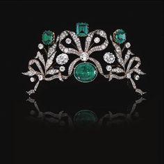 Antique Tiara, Belgium (ca. 1910, emeralds, diamonds). Once owned by a Belgian princess.