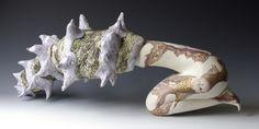 "Natasha Dikareva  Tuning Into Sea Chants  stoneware, stains, glazes, china paints 14""x26""x10"""