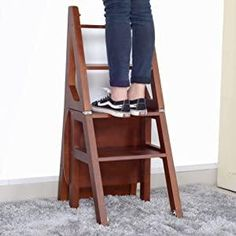 Ladder Chair, Ladder Bookcase, Kitchen Step Stool, Tiny House Loft, Family Safety, Wood Steps, Top Coat, Space Saving, Natural Wood