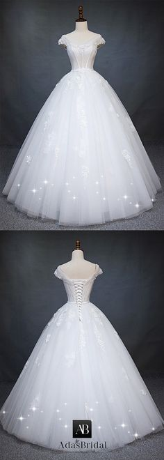 Wedding Dress Ball Gown Charming Tulle Off-the-shoulder Neckline Natural Waistline Ball Gown Wedding Dress With Beaded Lace Appliques - Cinderella Dresses, Princess Wedding Dresses, Best Wedding Dresses, Bridal Dresses, Wedding Gowns, Bridal Gown, Wedding Tips, Lace Wedding, Wedding Dress Tea Length