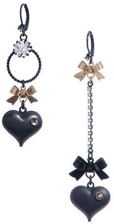 Betsey Johnson Heart Bow Mismatch Earrings