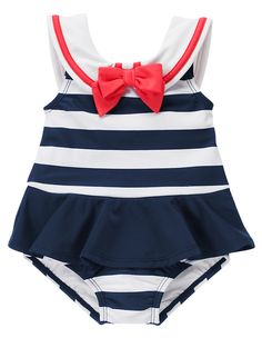 Ahoy sailor! Adorable stripe one-piece swimsuit features a sailor collar with a bright bow plus a flouncy skirt at the waist. 80% nylon/20% spandex. UPF 50+ and 99% UVB sun protection. Built-in swim diaper cover for all sizes. Hand wash. Imported. Collection Name: Swim Shop.