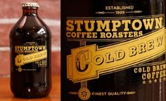 """Stumptown coffee has released their new """"Cold Brew Stubbies"""" in Portland Cafés. The tinted bottle and metallic gold print reflects the craftsmanship and attention that goes into their coffee. Cold Brew Iced Coffee, Drink Coffee, Coffee Coffee, Dairy Free Ice Cream, Coffee Ice Cream, Ice Cream Maker, Bottle Design, Sweet And Salty, Home Brewing"""