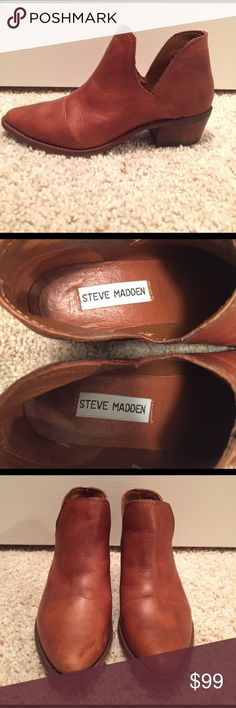 Steve Madden booties Worn once! Leather upper, leather lining, rubber sole Steve Madden Shoes Ankle Boots & Booties