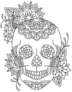 The Latest Trend in Embroidery – Embroidery on Paper - Embroidery Patterns Skull Coloring Pages, Free Adult Coloring Pages, Coloring Book Pages, Paper Embroidery, Hand Embroidery Patterns, Embroidery Designs, Henna Patterns, Embroidery Stitches, Candy Skulls