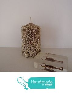 Decorative candle lace and Swarovski crystals. Retro, Vintage, Country, Rustic style. Diameter 6 cm, height 9 cm from VPFinishDesign http://www.amazon.com/dp/B0182TZ474/ref=hnd_sw_r_pi_dp_2Ey.wb0A7CXRR #handmadeatamazon