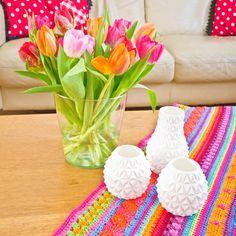 Crochet blanket made by me, 3d printed vases designed by Matthijs Kok.