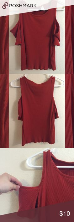 Orange Cut out shoulder top. Deep orange top with cut out shoulders. Lightly worn, very comfortable! H&M Tops Tees - Short Sleeve