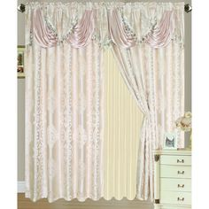 "RT Designers Collection Rosetta Jacquard 84 in. Double Rod Pocket Curtain Panel w/ Attached 18"" Valance"