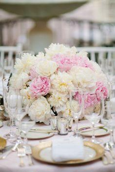 Peony centerpieces: http://www.stylemepretty.com/pennsylvania-weddings/2015/06/05/classic-pittsburgh-wedding/ | Photography: Mary Dougherty - http://www.marydougherty.com/