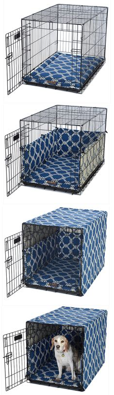 summer blue dog crate cover, dog bed mattress and dog crate! @ FelixChien.com