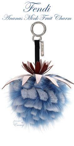 Brilliant Luxury♦Fendi Candy Colours Spring 2017♦Ananas Mink Fruit Charm for Handbag #blue