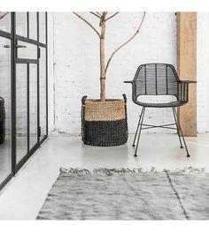 HK-living Kuip stoel rotan natural met zwart metalen frame 67x55x83cm - wonenmetlef.nl