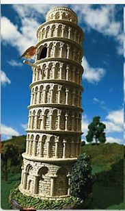 From the government of Italy: A Leaning Tower of Pisa bird feeder for the Genovian Summer Palace.