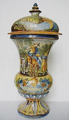 Italian lidded vase with Peasant Riding a Donkey First half of the 18th century