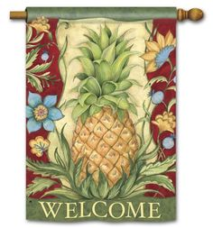 Magnet Works House Flag - Colonial Pineapple Decorative Flag at Garden House F at GardenHouseFlags
