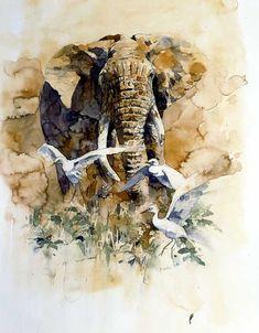 Art Aquarelle, Watercolor Paintings Abstract, Watercolor Artists, Watercolor Animals, Animal Paintings, Indian Paintings, Art Paintings, Art Photography Portrait, Elephant Art