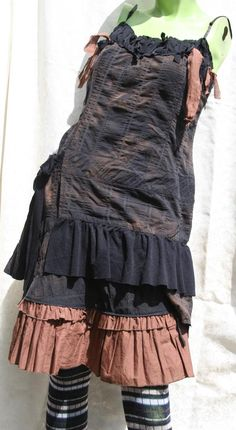 Post Apocalyptic Dress Chimney Sweep Steampunk Cyberpunk Goth Gothic Tatter Dress OOAK. $95.00, via Etsy.