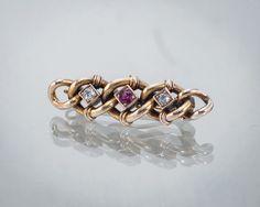 Broszka z rubinem i diamentami - piękny biżuteria vintage!  #Złoto-Orla  #Warszawa #Sklep #vintage #biżuteria #stara #rubin #diament # złoto #diamonds