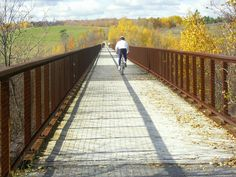 Cycling along Kawartha Trans Canada Trail in central Ontario.