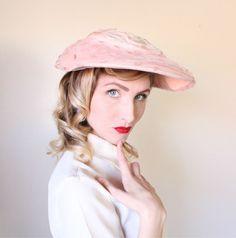 1950s Hat / VINTAGE / Wide Brim / Pink / Pastel by HighHatCouture