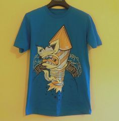 drop dead t-shirt teal sea-blue crazy fox print lazy funky oaf cotton small new | eBay