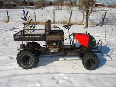I started this homemade utility vehicle with the lawnmower. It was a good winter project. I cut the frame and lengthened it by 2 feet.  I m...