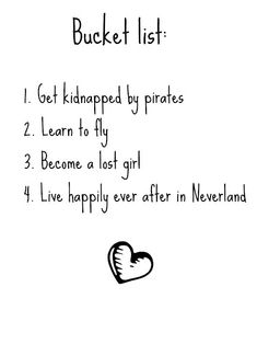 Peter Pan bucket list