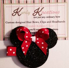 Minnie Mouse Single Hair Clip by MyKurlyKreations on Etsy, $3.50