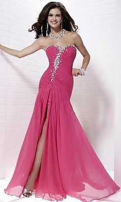 long dress  sweetheart neckline  jeweled  high slit  beaded