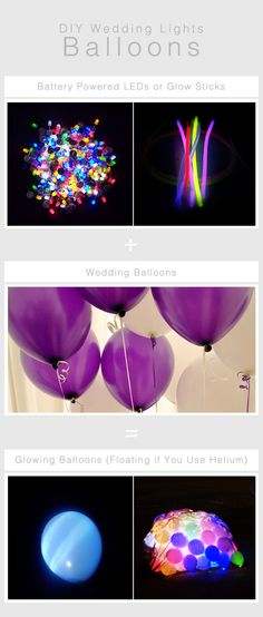 DIY Wedding Lighting Idea Using Balloons: Battery powered LEDs or glow sticks put inside of balloons create glowing lights.  If you are going to fill the balloons with helium look for balloons that have a liquid sealant as these hold the helium in longer. These kinds of balloons and a helium tank can be easily bought and rented at a party supplies store.   (photo credits: iko, Asiatic, Dave Morris, John Cooper. Flickr CC)