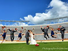 Touchdown football themed weddings wedding theme ideas unique fun football themed wedding ideas great bridal party shot by photodreams junglespirit Choice Image