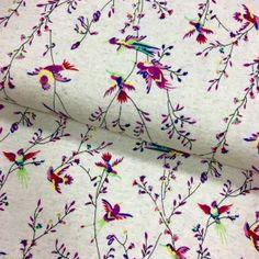 Tissu Jersey viscose et lin Beige chiné Oiseaux Violets - Par 10 cm