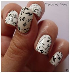 Black & White Nail art - you can use an alcohol stamp