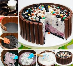 Candy Shop Ice Cream Cake Ingredients: 2 qt ice cream, any 2 flavors 2 TBS milk 39 kit-kat candy bars 16 oz whipped topping, frozen (like cool whip) 30 oreo cookies, broken up cup chocolate candies, assortment Ice Cream Desserts, Köstliche Desserts, Frozen Desserts, Frozen Treats, Delicious Desserts, Yummy Food, Food Cakes, Cupcake Cakes, Cupcakes